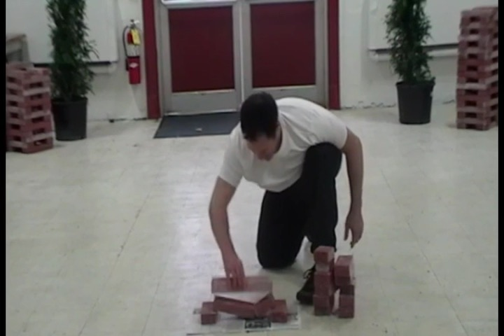breaking the bottom of two bricks