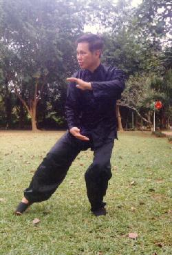 Sifu Wong holding a ball of energy in a Taijiquan move
